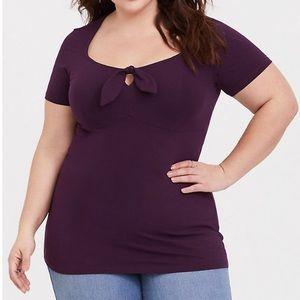 NWT Torrid Purple Tie Front Foxy Tee Size 4X